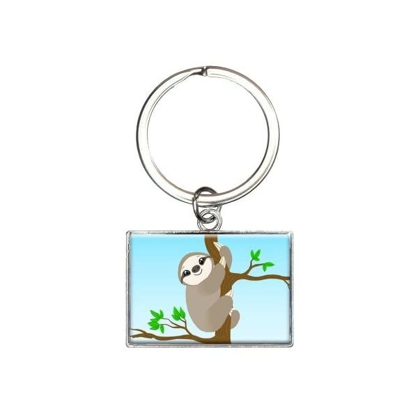 Sloth Just Hanging Around Rectangle Keychain Key Ring -