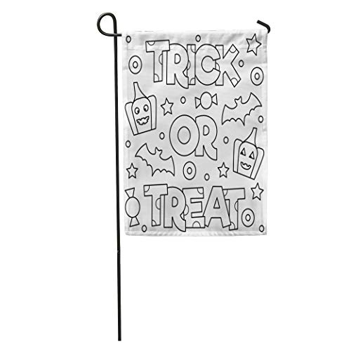 Semtomn Garden Flag Abstract Trick Treat Coloring Page Adorable Adult Antistress Bat Beautiful Home Yard House Decor Barnner Outdoor Stand 28x40 Inches -