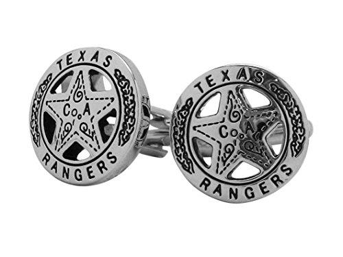 Men's Executive Cufflinks Silver Tone Texas Ranger Lone Star Badge Cuff (Texas Rangers Cufflinks)