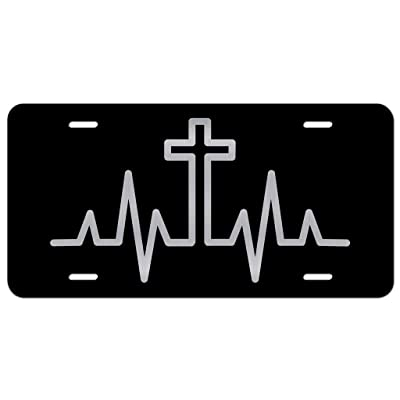 Cross Heartbeat Vanity Front License Plate Tag KCE335: Automotive