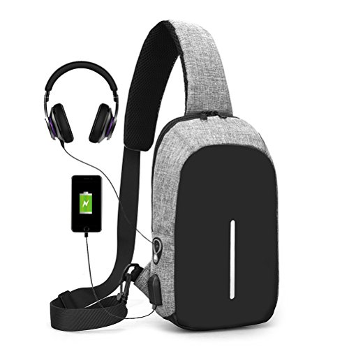 Bleach Single Cards - Sling Bag with USB Charging Port & Headphone Hole, Smart Crossbody Bag College School Chest Casual Daypack Travel Shoulder Backpack for Women Men Outdoor Sport Gym Hiking Cycling Day Trip - Gray