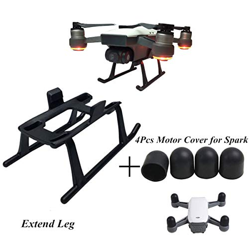 Hobby-Ace DJI Spark Accessories Height Extended Landing Gear Skids Legs Fast Clip on Quick Release and 4pcs Motor Cap Dust-Proof Motor Guards for DJI Spark (As Shown, DJI Spark Accessories)