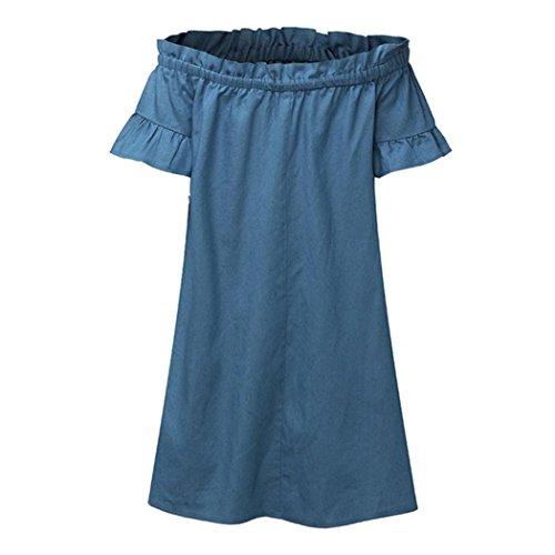 Tian-g Élégante Femme D'un Mot Épaule Taureau-perforateur Jean Taille Plus Large Épaule Bardot Cow-boy Regarder Robe Denim Chemise Bleu Clair Tops