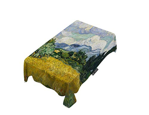 - NICOKEE Polyester Decorative Tablecloth Wheat Field Rectangle Table Cloth Expressionist Sky Landscape Wheat Crop Clouds Flowers Trees Table Cover for Kitchen Dinning Party End Table Protection