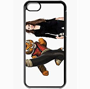 Personalized iPhone 5C Cell phone Case/Cover Skin Angelina Jolie As Tigress Black