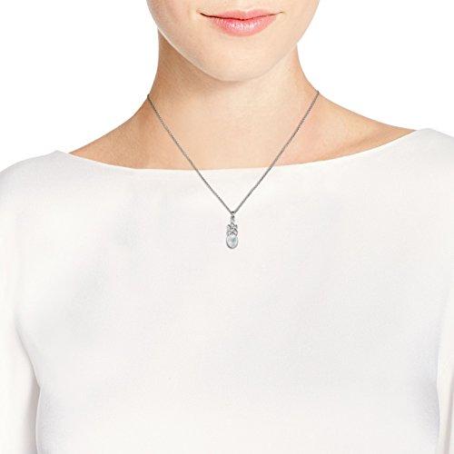 En Blanc 925 nbsp;pendentif Celtique Pendantes Ovale Collier Incrustation Noeud Nacre Argent Sterling IxpFqZ