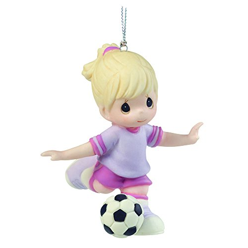 "Precious Moments, Christmas Gifts, ""You're An All-Star"", Porcelain Soccer Player Ornament, Girl #161038 - Precious Moments Ball"