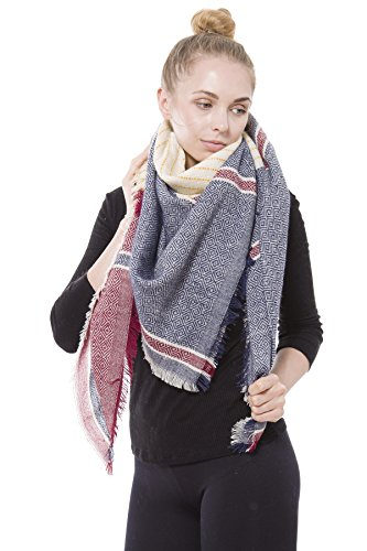 BYOS Women Winter Versatile Chic Tartan Plaid Oversized Blanket Scarf Wrap Shawl (Tile Stripe Red) by Be Your Own Style