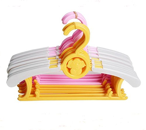 (MENGDA Adjustable Baby Children's Clothes Hangers Expandable Durable Cute Plastic Anti-slip Telescopic Hanger Drying Storage Hanging Rack for Kids Adults (Yellow))