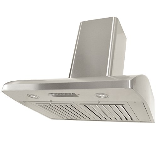 (KOBE CHX2236SQB-WM-1 Brillia 36-inch Wall Mount Range Hood, 3-Speed, 680 CFM, Fits Ceiling Height)