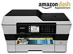 """The Brother MFC-J6920DW helps increase business productivity with fastest in class print speeds1, low cost 2-sided printing, single-pass 2-sided 11"""" x 17"""" scanning/copying, up to 500-sheet paper capacity, NFC connectivity2, and a suit..."""