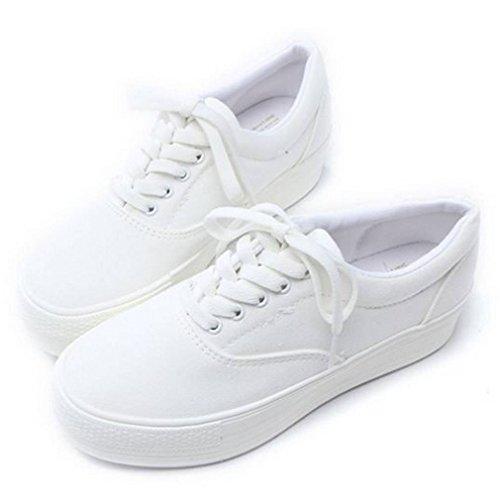 Epicstep Donna Casual Comfort Semplice Tela Lace Up Suole Spesse Scarpe Sneakers Moda Scarpe Da Ginnastica Bianche