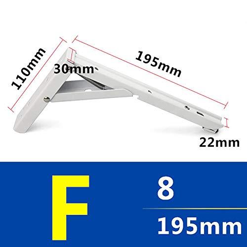 lightclub 2Pcs Wall Mounted Metal Folding Adjustable Triangle Right Angle Shelf Bracket Support for Shelving White 10 Screws (Slot Twin Bracket)