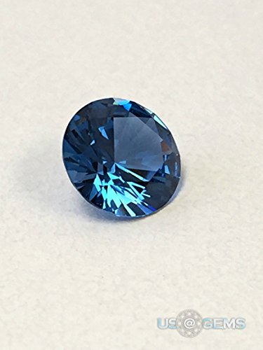 Zircon Blue #120. Swiss Spinel. Round 8 mm. 2 ct. Lab created loose gemstone. US@GEMS