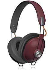 Panasonic Retro Over The Ear Wireless Headphones with Bluetooth 24-Hour Playback, Red (RPHTX80R)