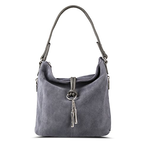 Nico Louise Women Purse Suede Split Real Leather Shoulder Bag Casual Crossbody Hobo handbag (LightGrey) by Nico Louise