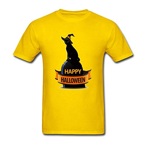 Dyrusvnus Men's Happy Halloween Funny Logo Short Sleeve T-Shirt Large Yellow -