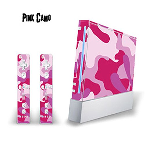 Mightyskins Skin Decal Cover for Nintendo Wii Console + two Wiimote Controllers Sticker- Pink Camo