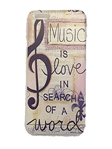 iPhone 6 / 6S Music is Love in Search of a Word Phone Hard Back Case 4.7 Inch Beautiful Clear Transparent Printed Hard Case Cover For Apple (Search Del)