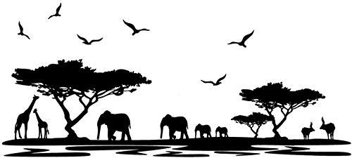 Vinyl Wall Decals - Border African Elephants Mural Safari Africa Jungle Animal Elephant Giraffe Decor Living Room Forest Animals Scene Kids Nursery Bedroom