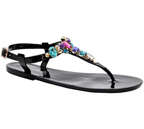 SAUTE STYLES Ladies Girl Beach Summer Retro Diamante Jelly Flip Flop Sandals Women Shoes Size 3-8 Black 9zmKMlBB