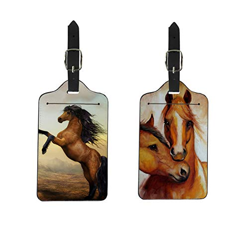 FOR U DESIGNS Luggage Tags Set,2 Pcs Horse Printed Business Card Holder Flexible Pu Travel ID Identification Labels -