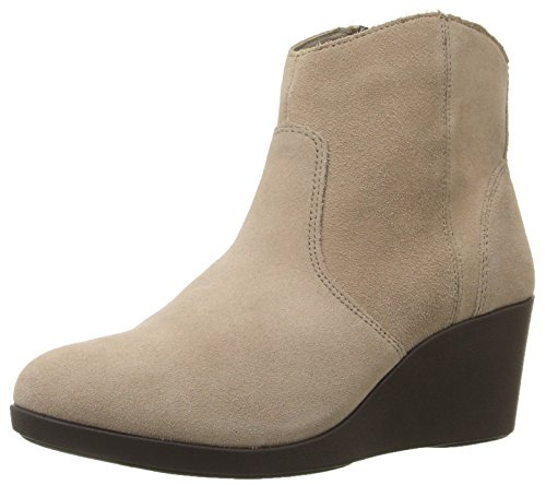 crocs Women's Leigh Suede Wedge Boot, Tan, 10.5 M US - Genuine Leather Croc