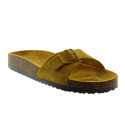 2 5 cm mit Senf Schnalle Schuhe Keilabsatz Slipper Pantoletten Kork Angkorly Damenmode SzYxx8