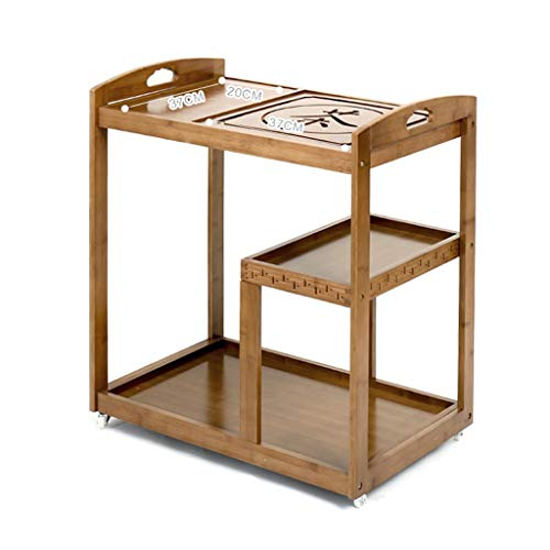 - Coffee Tables Tea Rack Movable Wheeled Tea cart Kung Fu Tea Ceremony Simple Tea Table Home Multi-Function with Tea Tray Pedestal Tables (Color : Beige, Size : 6441.572cm)