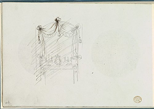 Sketch of a Fireplace with a Mirror Surrounded by Drapery Poster Print by Anonymous French 18th century (18 x 24) (18th Century Fireplaces)