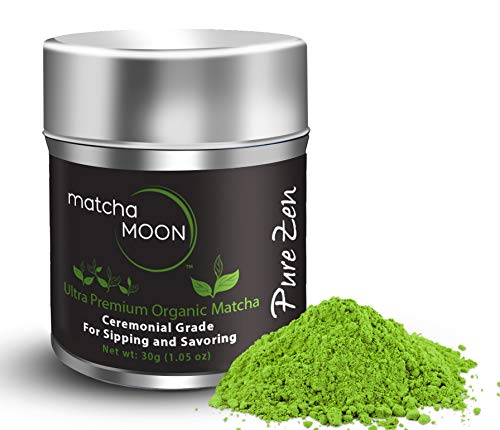 Matcha Moon - Organic Ceremonial Grade Japanese Matcha Green Tea Powder from Uji Kyoto Japan - Authentic, Premium, USDA Certified - Best For Traditionally Whisked Tea - Pure Zen - 30g Tin