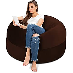 4FT Bean Bag Chair in Espresso - Big Velour Comfort Cover with Memory Foam Filler - Gigantic Bed, Large Sofa, Cozy Lounger, Chill Mattress - Kids, Adults & Teens Love This Huge Sack Panda Sleep