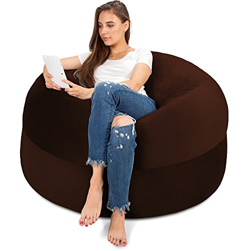 4FT Bean Bag Chair in Espresso - Big Velour Comfort Cover with Memory Foam Filler - Gigantic Bed, Large Sofa, Cozy Lounger, Chill Mattress - Kids, Adults & Teens Love This Huge Sack Panda Sleep by Panda Sleep
