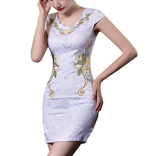 七面鳥カレッジ原子炉XueXian(TM)ミニ チャイナ服 花柄 ショート丈ドレス レディース チャイナドレス アジアンビューティー 結婚式 二次会 パーティー
