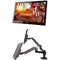 AOC e1659Fwu 16-Inch Ultra Slim 1366x768 USB 3.0-Powered Portable LED Monitor (2-Pack) & AmazonBasics Dual Side-by-Side Monitor Arm Set