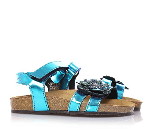 GRUNLAND - Sandale bleu ciel avec boucle, petite fleur sur la bande antérieure, fille, filles, enfant