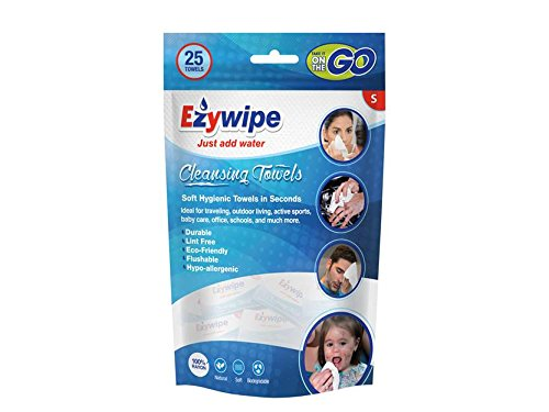 Ezywipe Compressed Cleansing Towel 100% Rayon Biodegradable Hypo-allergenic 25 pack (Wash 100 Rayon)