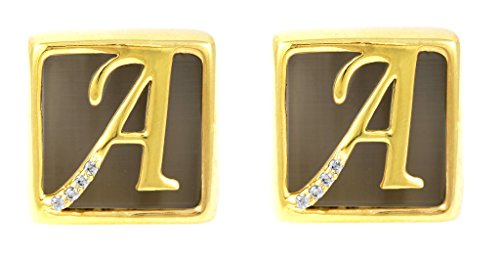 Fadkart Designer 24k Gold Plated Mona Lisa Stone Initial a Cufflinks for Men & Women (Designer Gold Plated Cufflinks)