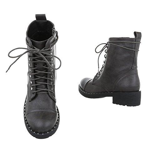 Zapatos para mujer Botas Tacón ancho Botines de cordones Ital-Design Gris