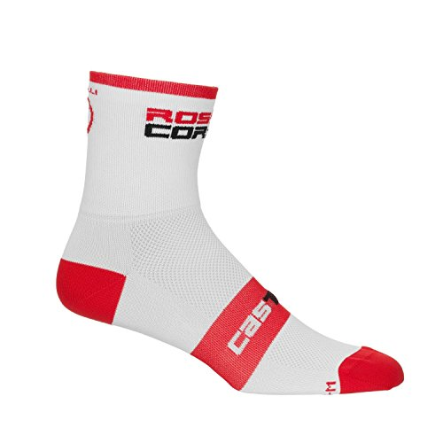 Unisex Castelli Rosso Corsa 9 Cycling Sock-White/Red-US Size L/XL