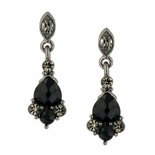 picture of 1928 Jewelry Vintage Inspired Black-Diamond Crystal Drop Earrings