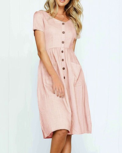 Loose Cute Womens Dresses V Ruffle Fit Down Short Z pink Neck Buttion Mini Sleeve Bbalizko Za85qnw8