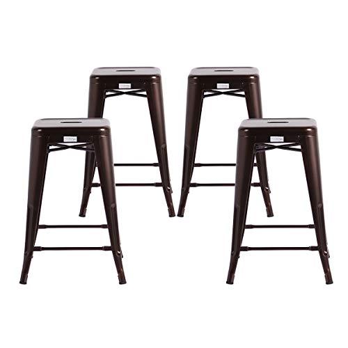 Buschman Store Buschman Metal Bar Stools 24 Counter Height, Indoor Outdoor, Stackable, Set of 4, Copper