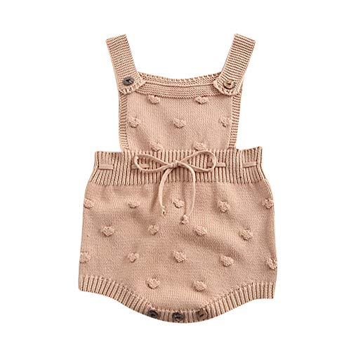 LNGRY Baby Romper,Toddler Newborn Kids Girls Boys Strap Knit Ball Lace Up Romper Climbing Clothes Overalls (3-6 Months, Brown)
