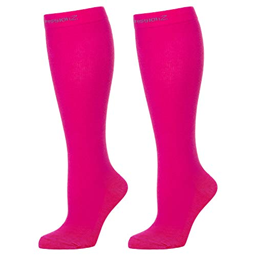 Compression Socks Men & Women - Solid Colors - Perfect for Nurses, Runners, Athletes, Diabetics, Travelers - 20–30 mmHg Graduated Compression - Comfortable Nylon Spandex Blend