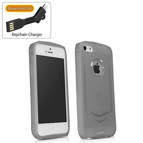Coque Iphone se, BoxWave® [Liquid Armor Étui avec chargeur Porte-clés Bonus] Coque rigide, transparent se, Armor Coque pour Apple iPhone 5S, 5–Givré Transparent
