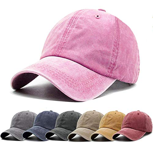 Aedvoouer Unisex Washed Twill Cotton Baseball Cap Vintage Distressed Plain Adjustable Dad Hat (Pink)