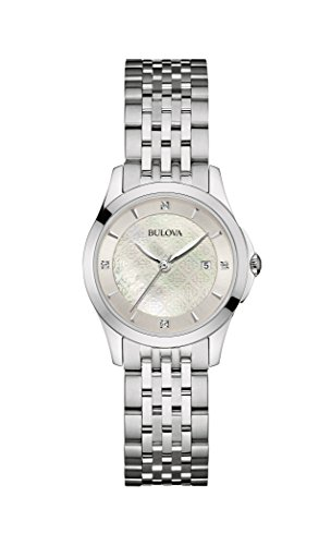 Of Womans Pearl Watch Mother (Bulova womens 96P160 14mm Stainless Steel Silver Watch Bracelet)