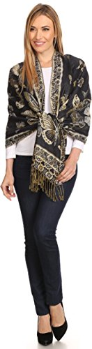 Sakkas 16126 - Liua Long Wide Woven Patterned Design Multi Colored Pashmina Shawl / Scarf - Navy - OS
