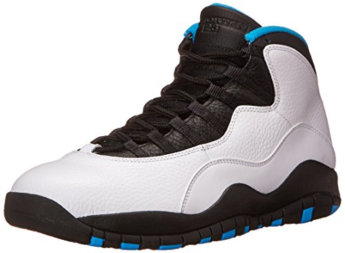 Nike Air Jordan Retro 10, Zapatillas de Deporte para Hombre Blanco / Azul / Negro (White / Dk Powder Blue-Black)
